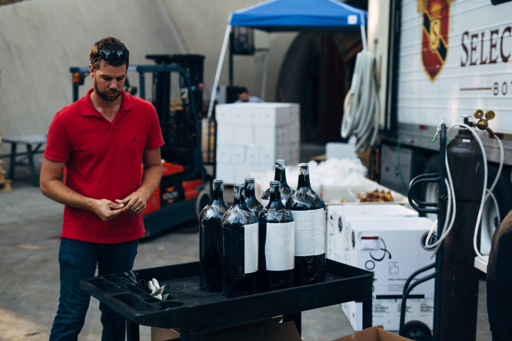 Winemaker Lloyd with the large formats